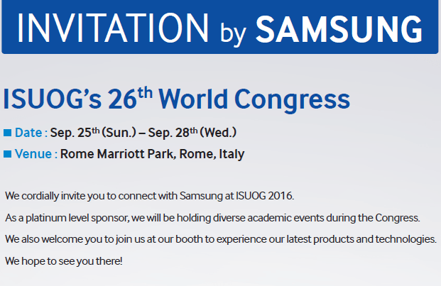 isuog 2016 rome symposium september samsung roma invito